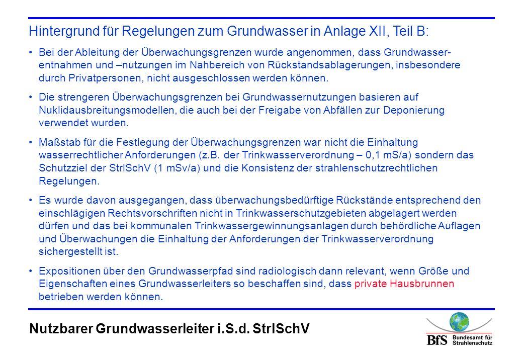 Begriffsdefinition: Ein nutzbares Grundwasservorkommen im Sinne von Anlage XII Teil B Nr.