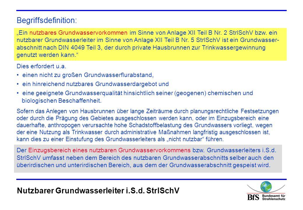 Mögliches Vorgehen in der Praxis: 1.Prüfen, ob der Ablagerungsort innerhalb der Grenzen eines nach Artikel 7 (1) der Richtlinie 2000/60/EG (Wasserrahmenrichtlinie) erfassten Grundwasserkörpers liegt.