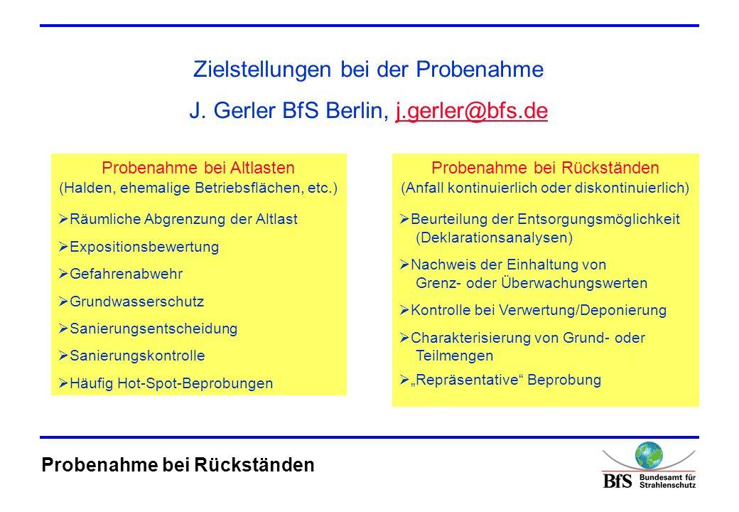 Probenahme bei Rückständen Zielstellungen bei der Probenahme J. Gerler BfS Berlin, j.gerler@bfs.dej.gerler@bfs.de Probenahme bei Altlasten (Halden, eh