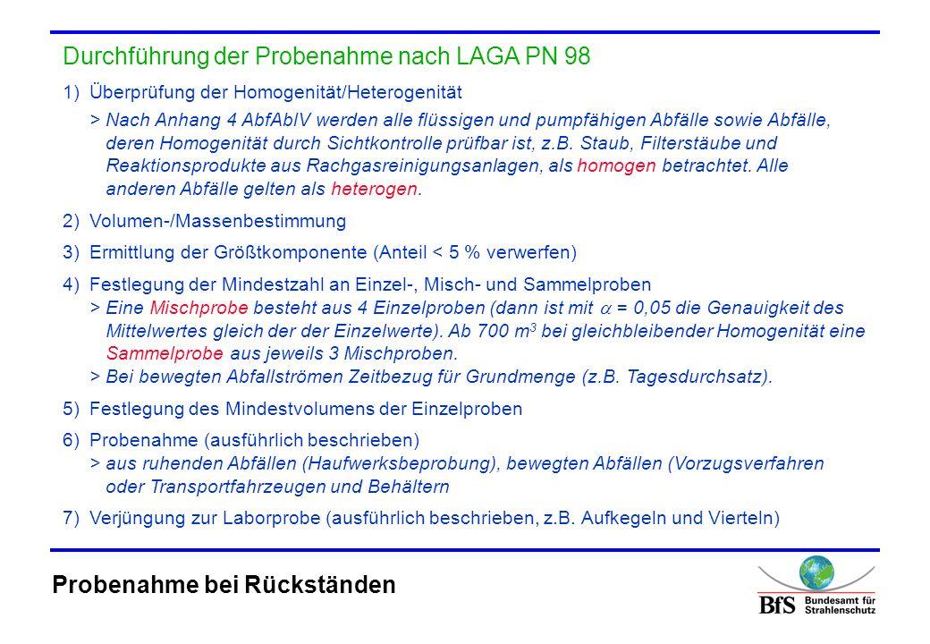 Durchführung der Probenahme nach LAGA PN 98 1)Überprüfung der Homogenität/Heterogenität > Nach Anhang 4 AbfAblV werden alle flüssigen und pumpfähigen