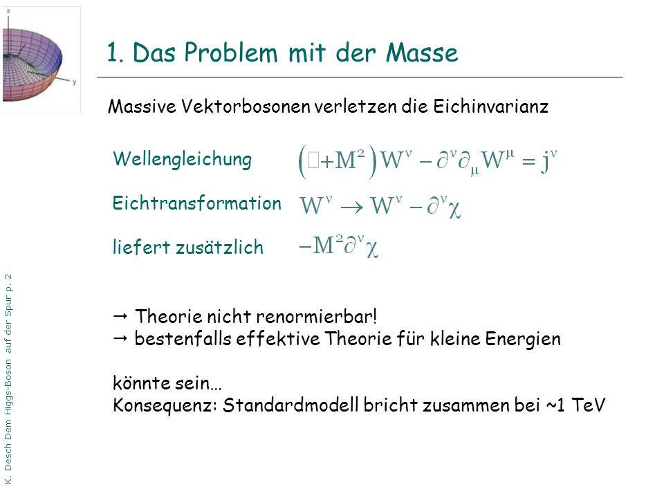 DPG06 Dortmund K. Desch Dem Higgs-Boson auf der Spur p. 2 1. Das Problem mit der Masse Massive Vektorbosonen verletzen die Eichinvarianz Wellengleichu