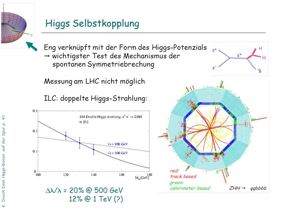 DPG06 Dortmund K. Desch Dem Higgs-Boson auf der Spur p. 43 Eng verknüpft mit der Form des Higgs-Potenzials wichtigster Test des Mechanismus der sponta
