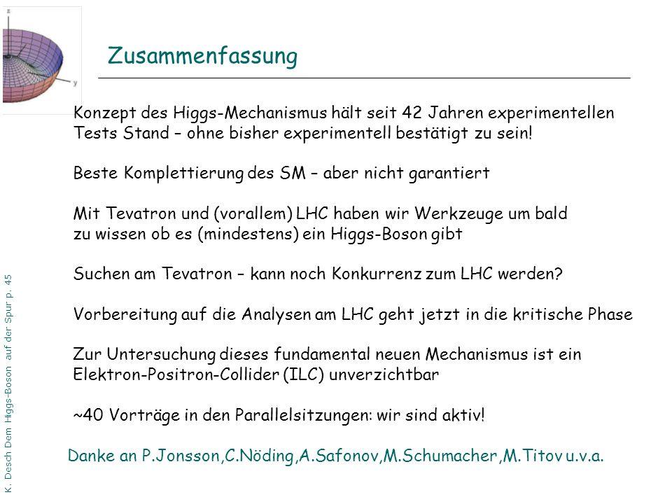 DPG06 Dortmund K. Desch Dem Higgs-Boson auf der Spur p. 45 Zusammenfassung Danke an P.Jonsson,C.Nöding,A.Safonov,M.Schumacher,M.Titov u.v.a. Konzept d