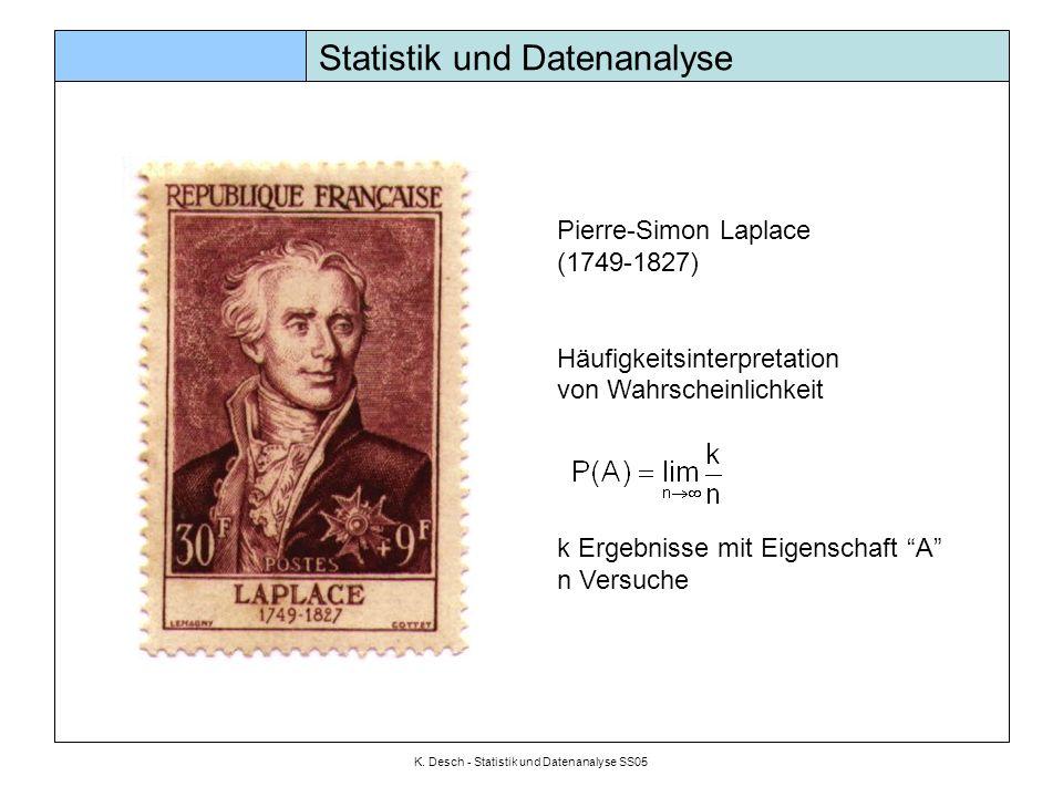 K. Desch - Statistik und Datenanalyse SS05 Statistik und Datenanalyse Pierre-Simon Laplace (1749-1827) Häufigkeitsinterpretation von Wahrscheinlichkei