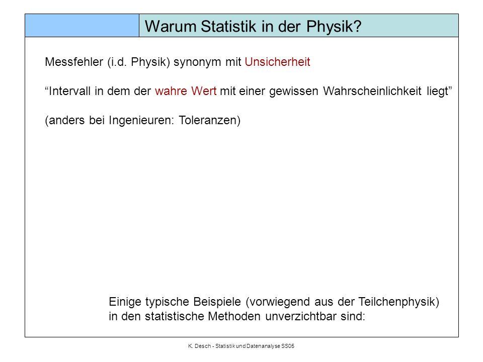 K. Desch - Statistik und Datenanalyse SS05 Warum Statistik in der Physik? Messfehler (i.d. Physik) synonym mit Unsicherheit Intervall in dem der wahre