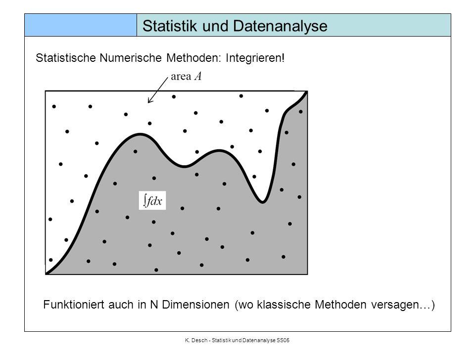 K. Desch - Statistik und Datenanalyse SS05 Statistik und Datenanalyse Statistische Numerische Methoden: Integrieren! Funktioniert auch in N Dimensione