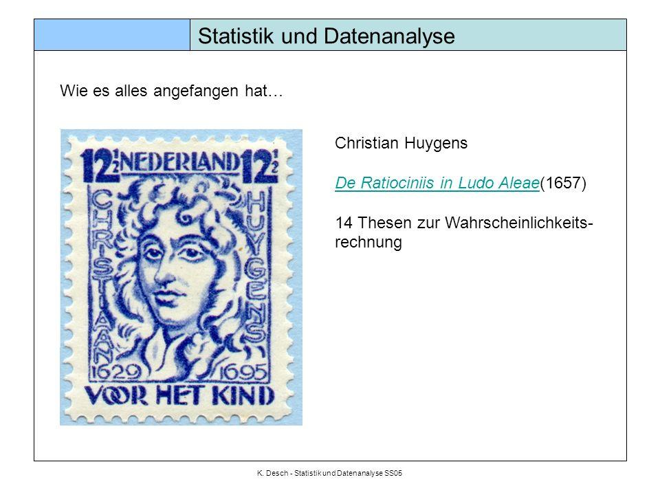 K. Desch - Statistik und Datenanalyse SS05 Statistik und Datenanalyse Wie es alles angefangen hat… Christian Huygens De Ratiociniis in Ludo AleaeDe Ra