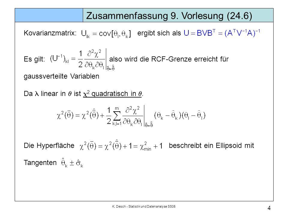 K. Desch - Statistik und Datenanalyse SS05 4 Kovarianzmatrix: ergibt sich als Es gilt: also wird die RCF-Grenze erreicht für gaussverteilte Variablen
