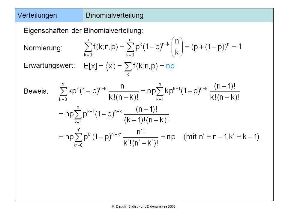 K. Desch - Statistik und Datenanalyse SS05 Verteilungen Binomialverteilung Eigenschaften der Binomialverteilung: Normierung: Erwartungswert: Beweis: