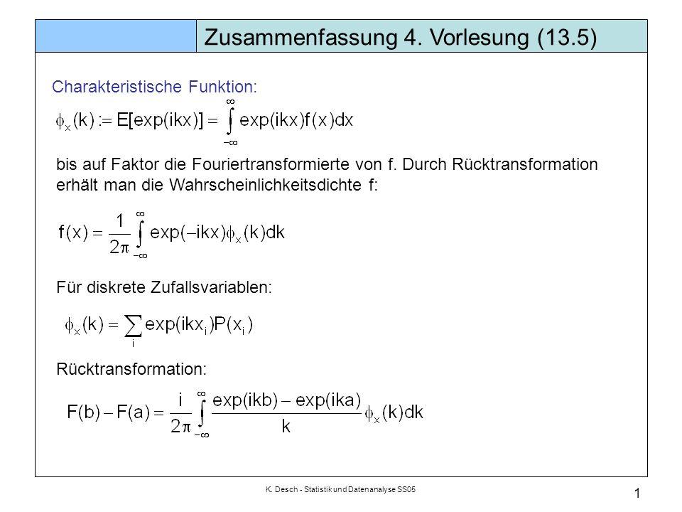 K. Desch - Statistik und Datenanalyse SS05 1 Zusammenfassung 4. Vorlesung (13.5) Charakteristische Funktion: bis auf Faktor die Fouriertransformierte