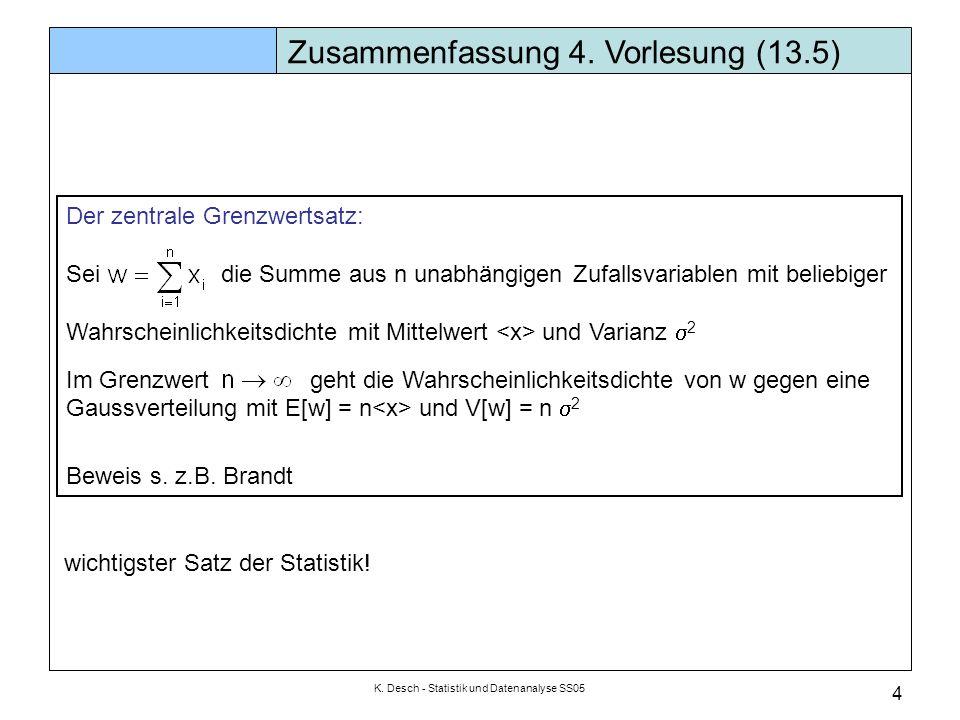 K. Desch - Statistik und Datenanalyse SS05 5 Zusammenfassung 4. Vorlesung (13.5)