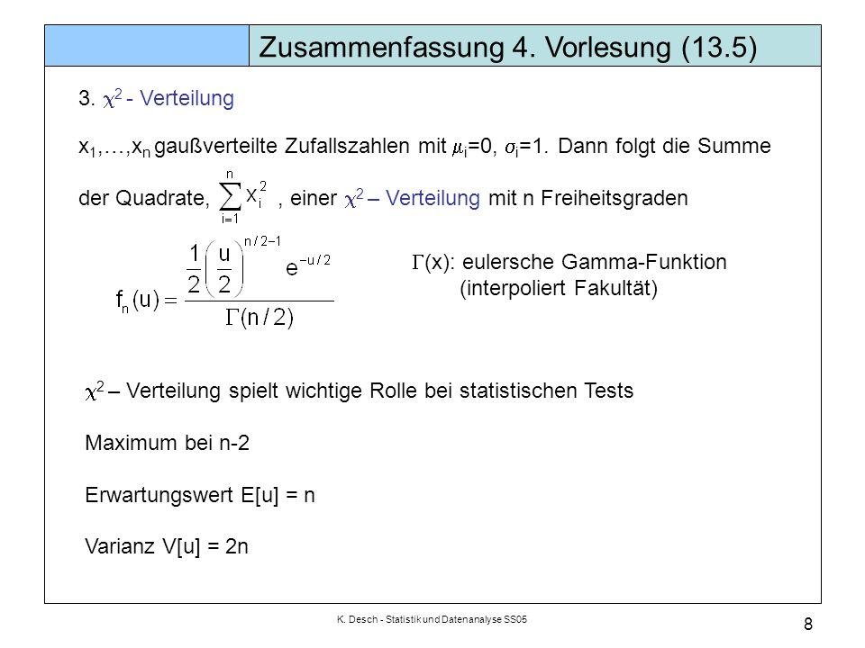 K. Desch - Statistik und Datenanalyse SS05 8 Zusammenfassung 4. Vorlesung (13.5) 3. 2 - Verteilung x 1,…,x n gaußverteilte Zufallszahlen mit i =0, i =