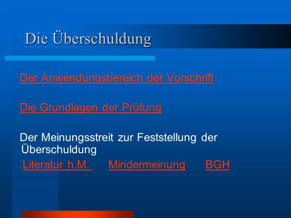 Die Überschuldung Der Anwendungsbereich der Vorschrift Die Grundlagen der Prüfung Der Meinungsstreit zur Feststellung der Überschuldung Literatur h.M.