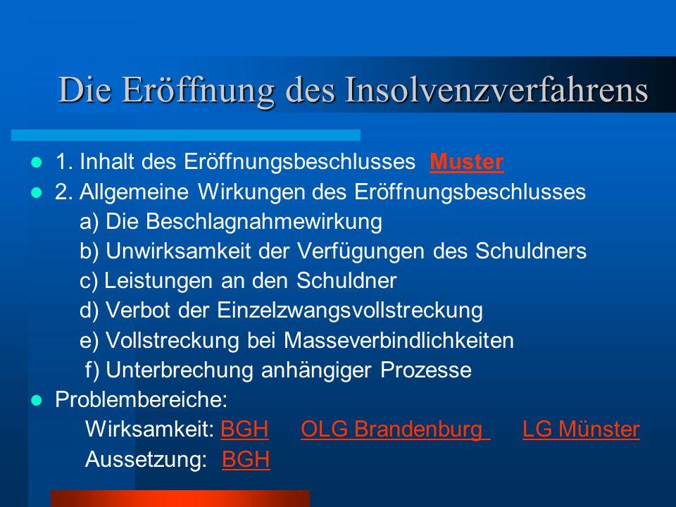 Die Eröffnung des Insolvenzverfahrens 1. Inhalt des Eröffnungsbeschlusses MusterMuster 2. Allgemeine Wirkungen des Eröffnungsbeschlusses a) Die Beschl
