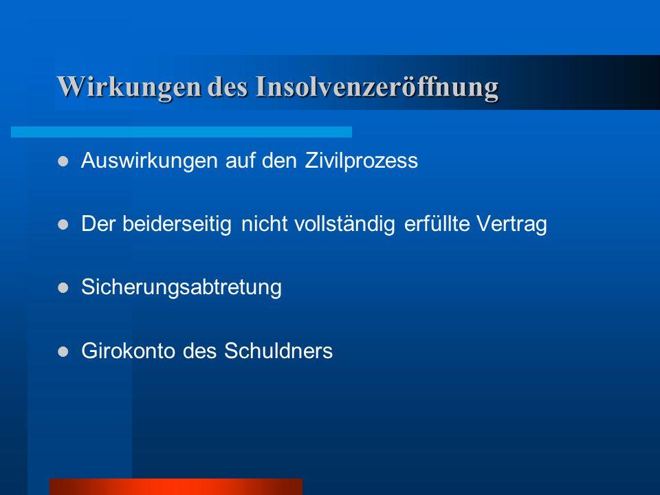 Wirkungen des Insolvenzeröffnung Auswirkungen auf den Zivilprozess Der beiderseitig nicht vollständig erfüllte Vertrag Sicherungsabtretung Girokonto d