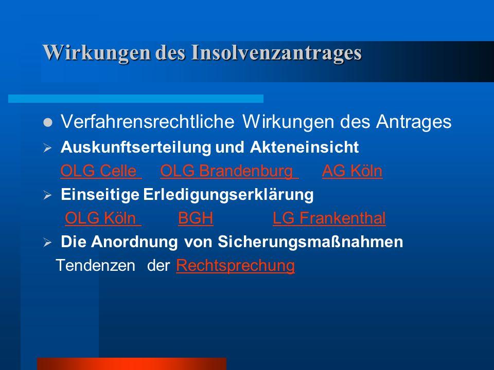Wirkungen des Insolvenzantrages Verfahrensrechtliche Wirkungen des Antrages Auskunftserteilung und Akteneinsicht OLG Celle OLG Brandenburg AG KölnOLG