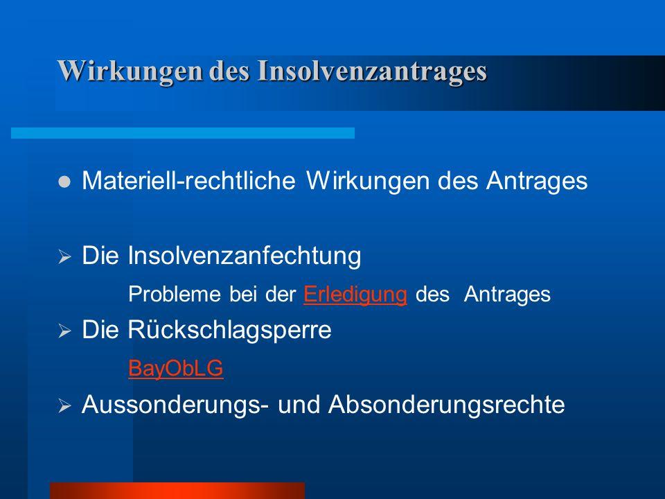 Wirkungen des Insolvenzantrages Materiell-rechtliche Wirkungen des Antrages Die Insolvenzanfechtung Probleme bei der Erledigung des AntragesErledigung
