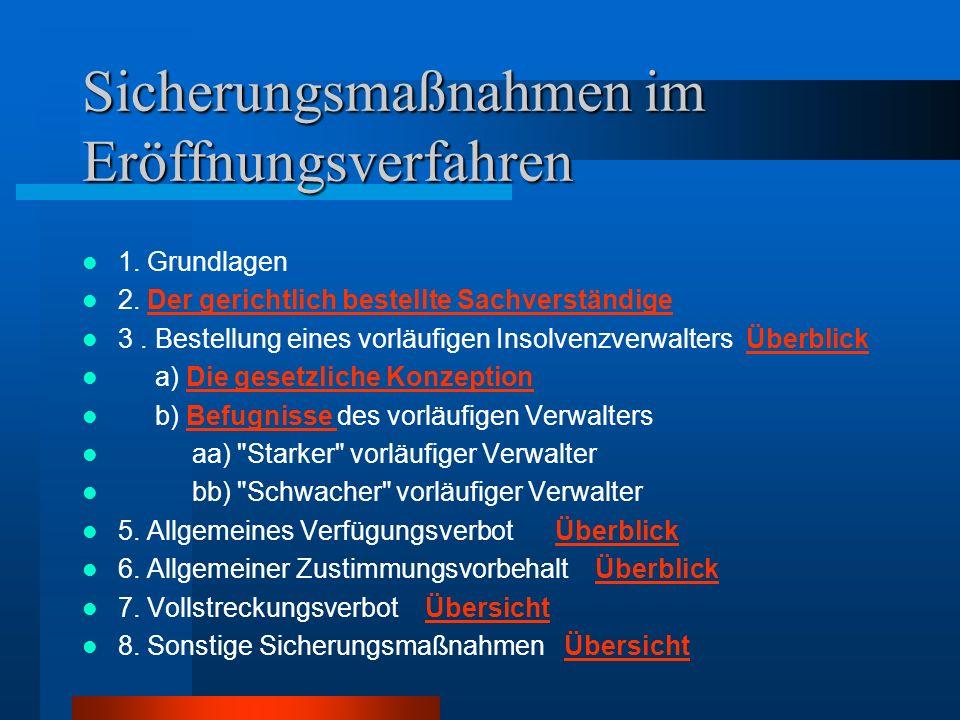 Sicherungsmaßnahmen im Eröffnungsverfahren 1. Grundlagen 2. Der gerichtlich bestellte SachverständigeDer gerichtlich bestellte Sachverständige 3. Best