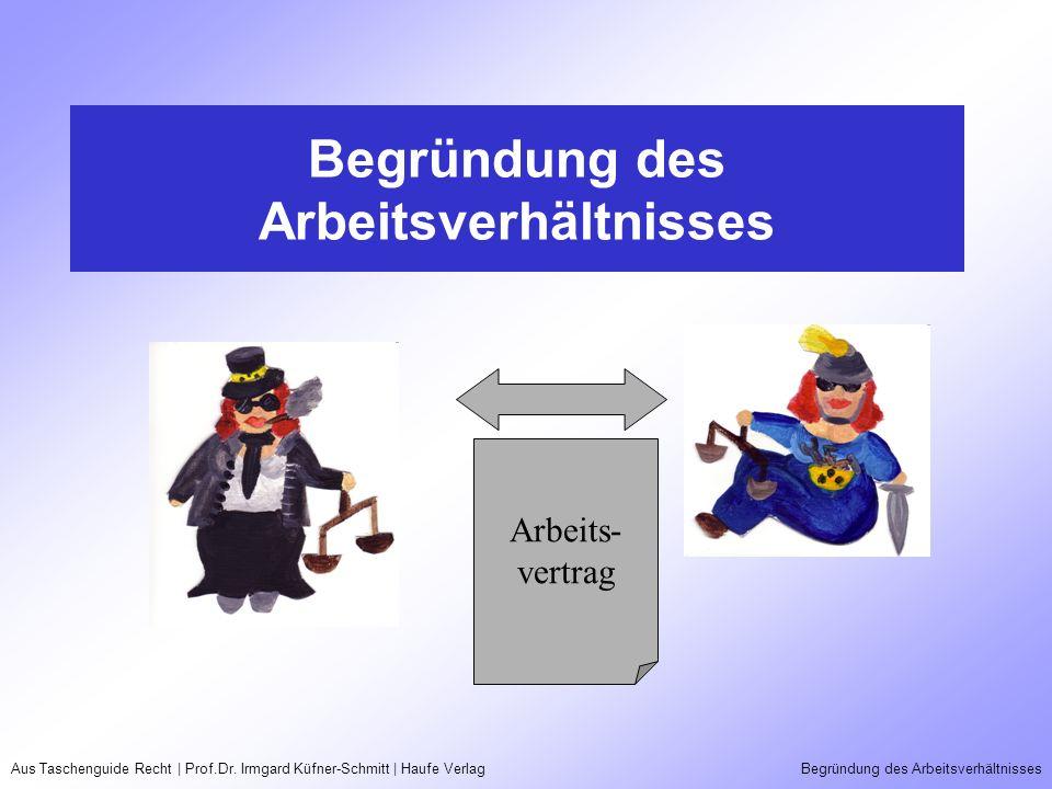 Aus Taschenguide Recht | Prof.Dr. Irmgard Küfner-Schmitt | Haufe VerlagBegründung des Arbeitsverhältnisses Arbeits- vertrag