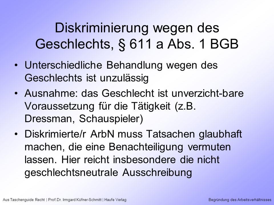 Aus Taschenguide Recht | Prof.Dr. Irmgard Küfner-Schmitt | Haufe VerlagBegründung des Arbeitsverhältnisses Diskriminierung wegen des Geschlechts, § 61