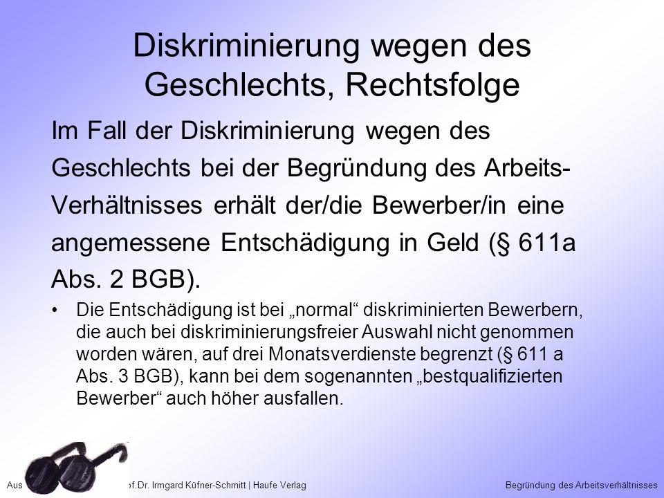 Aus Taschenguide Recht | Prof.Dr. Irmgard Küfner-Schmitt | Haufe VerlagBegründung des Arbeitsverhältnisses Diskriminierung wegen des Geschlechts, Rech