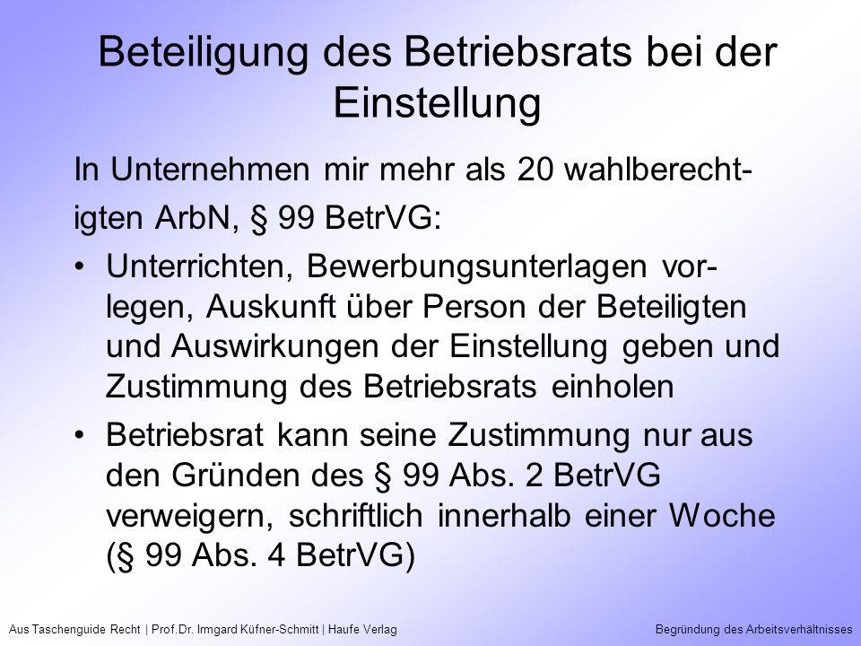 Aus Taschenguide Recht | Prof.Dr. Irmgard Küfner-Schmitt | Haufe VerlagBegründung des Arbeitsverhältnisses Beteiligung des Betriebsrats bei der Einste