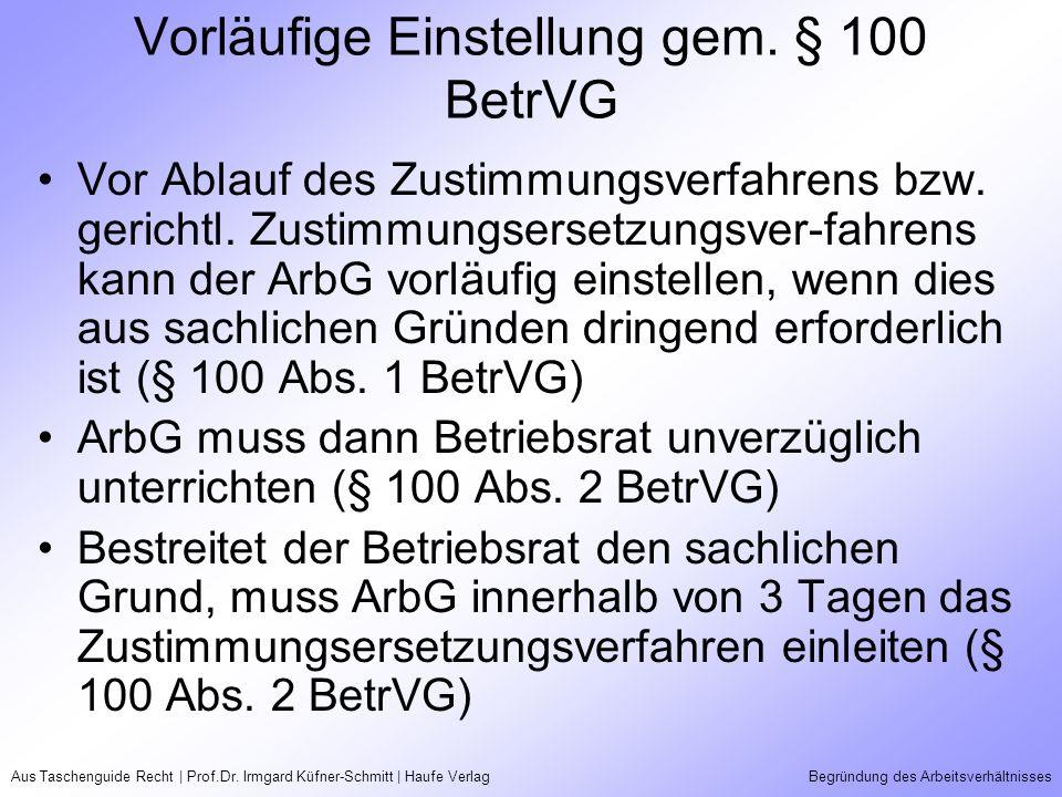 Aus Taschenguide Recht | Prof.Dr. Irmgard Küfner-Schmitt | Haufe VerlagBegründung des Arbeitsverhältnisses Vorläufige Einstellung gem. § 100 BetrVG Vo