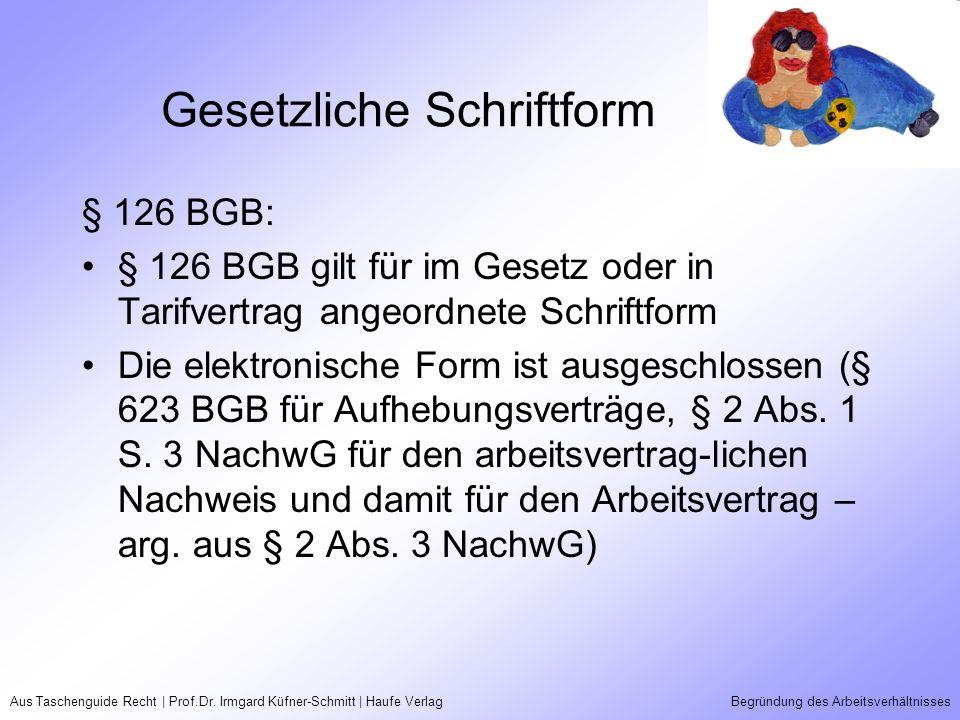 Aus Taschenguide Recht | Prof.Dr. Irmgard Küfner-Schmitt | Haufe VerlagBegründung des Arbeitsverhältnisses Gesetzliche Schriftform § 126 BGB: § 126 BG