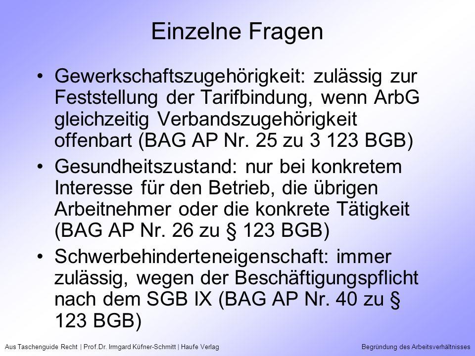 Aus Taschenguide Recht | Prof.Dr. Irmgard Küfner-Schmitt | Haufe VerlagBegründung des Arbeitsverhältnisses Einzelne Fragen Gewerkschaftszugehörigkeit: