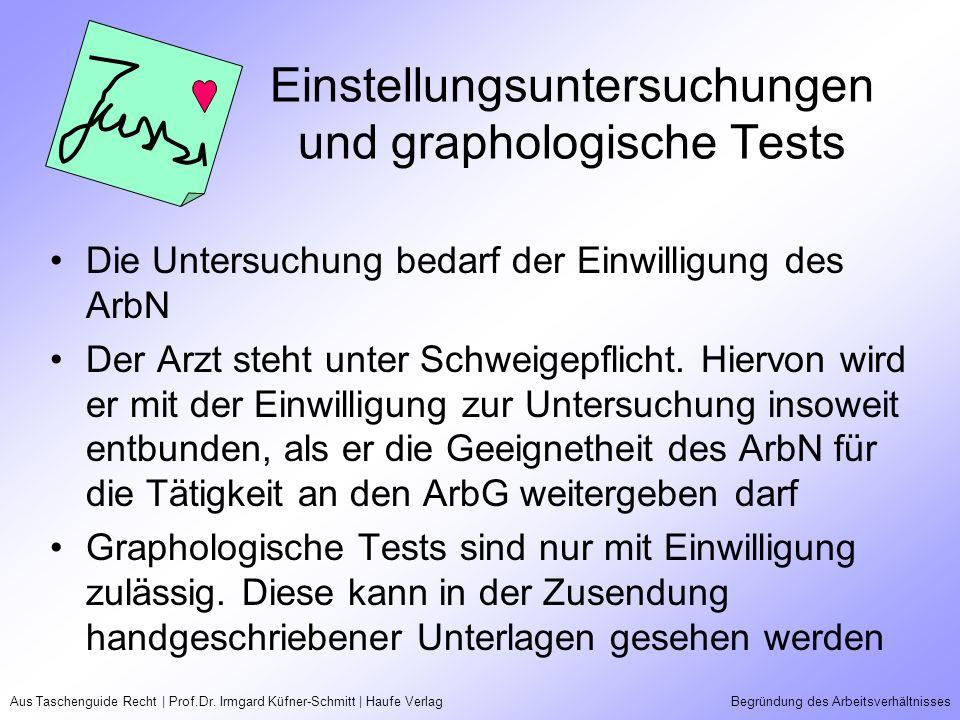 Aus Taschenguide Recht | Prof.Dr. Irmgard Küfner-Schmitt | Haufe VerlagBegründung des Arbeitsverhältnisses Einstellungsuntersuchungen und graphologisc