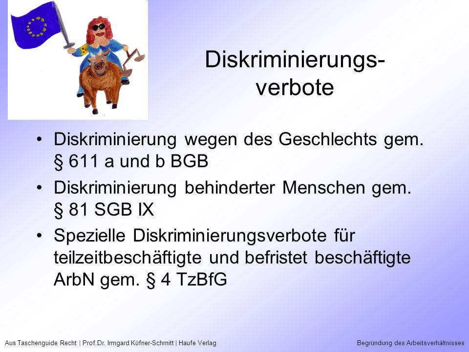 Aus Taschenguide Recht | Prof.Dr. Irmgard Küfner-Schmitt | Haufe VerlagBegründung des Arbeitsverhältnisses Diskriminierungs- verbote Diskriminierung w