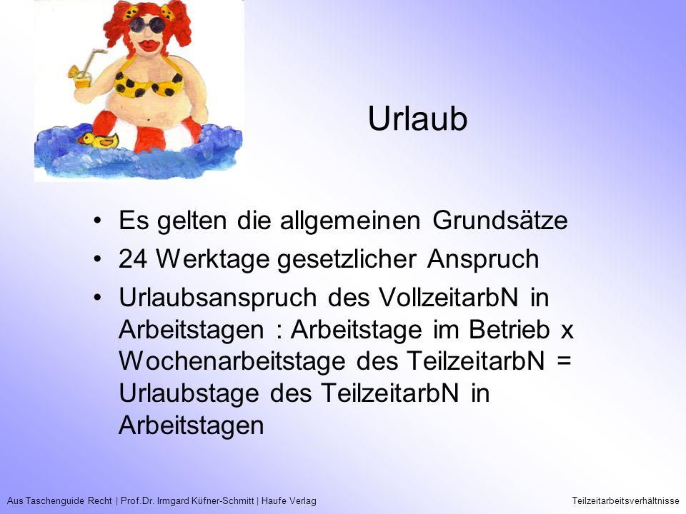 Aus Taschenguide Recht   Prof.Dr. Irmgard Küfner-Schmitt   Haufe VerlagTeilzeitarbeitsverhältnisse Urlaub Es gelten die allgemeinen Grundsätze 24 Werk
