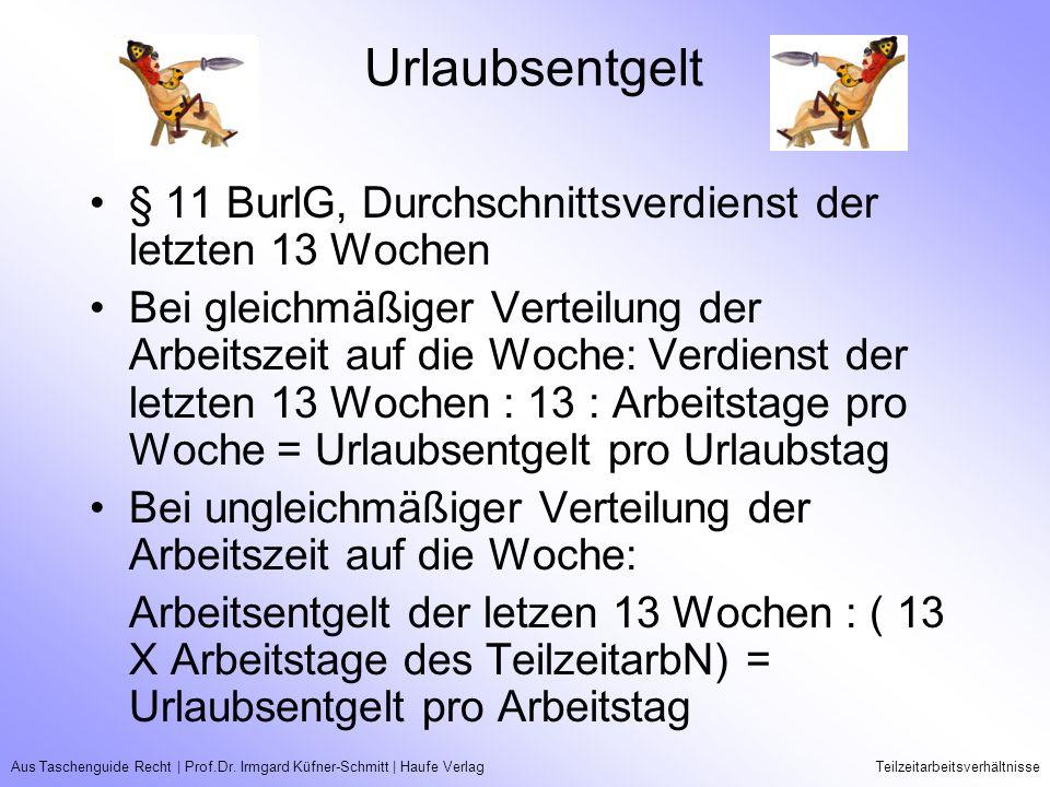 Aus Taschenguide Recht   Prof.Dr. Irmgard Küfner-Schmitt   Haufe VerlagTeilzeitarbeitsverhältnisse Urlaubsentgelt § 11 BurlG, Durchschnittsverdienst d