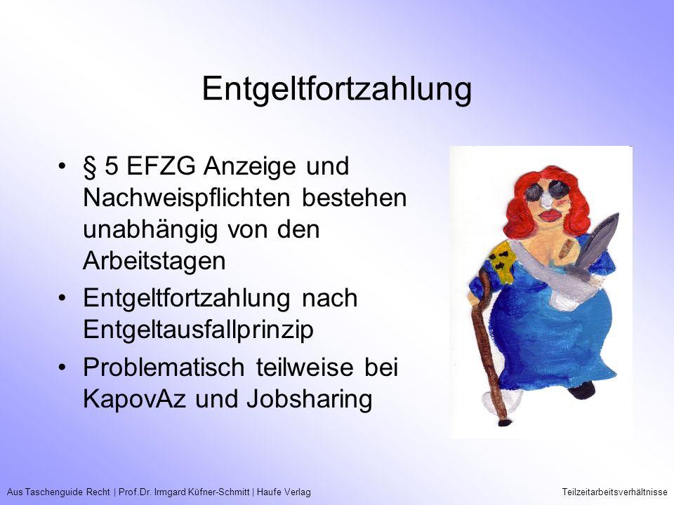 Aus Taschenguide Recht   Prof.Dr. Irmgard Küfner-Schmitt   Haufe VerlagTeilzeitarbeitsverhältnisse Entgeltfortzahlung § 5 EFZG Anzeige und Nachweispfl