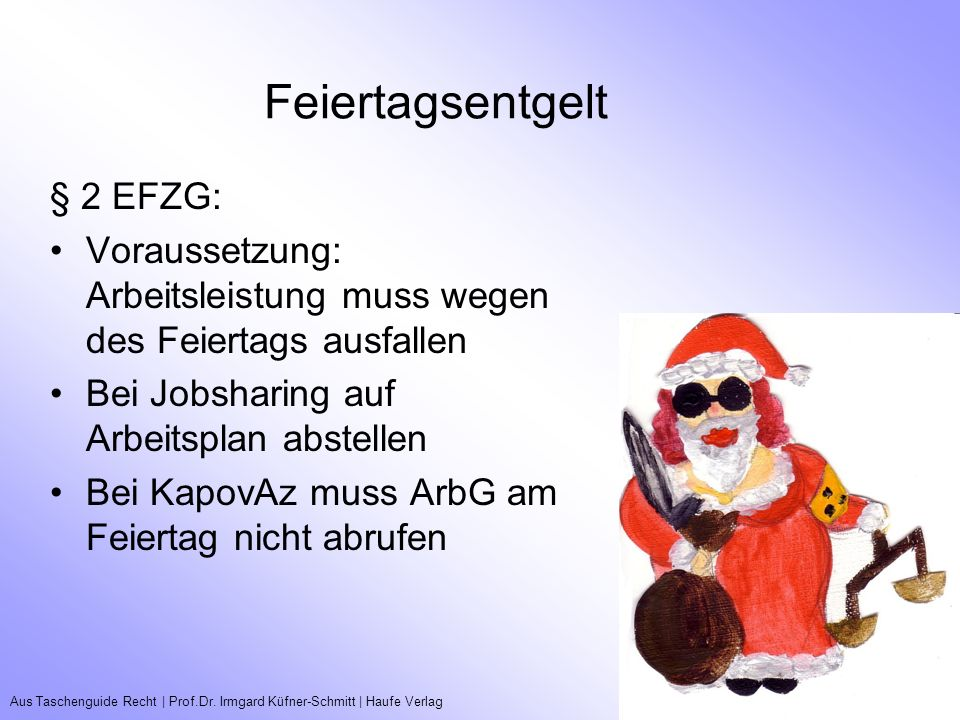 Aus Taschenguide Recht   Prof.Dr. Irmgard Küfner-Schmitt   Haufe VerlagTeilzeitarbeitsverhältnisse Feiertagsentgelt § 2 EFZG: Voraussetzung: Arbeitsle