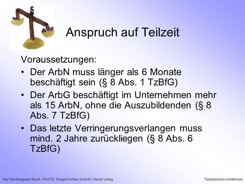 Aus Taschenguide Recht   Prof.Dr. Irmgard Küfner-Schmitt   Haufe VerlagTeilzeitarbeitsverhältnisse Anspruch auf Teilzeit Voraussetzungen: Der ArbN mus