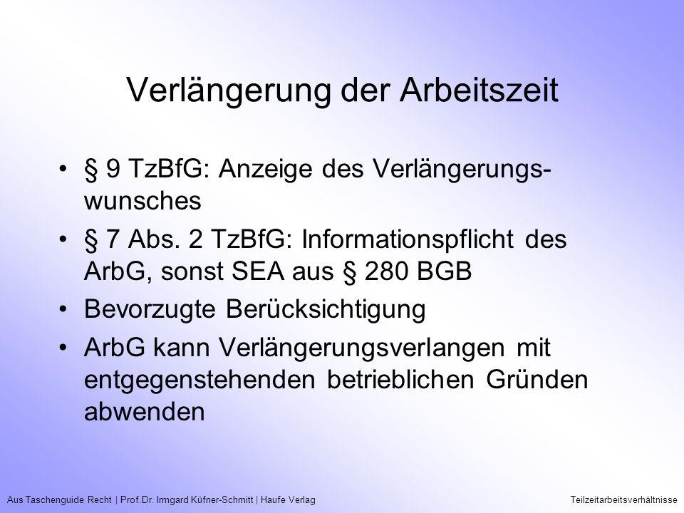 Aus Taschenguide Recht   Prof.Dr. Irmgard Küfner-Schmitt   Haufe VerlagTeilzeitarbeitsverhältnisse Verlängerung der Arbeitszeit § 9 TzBfG: Anzeige des