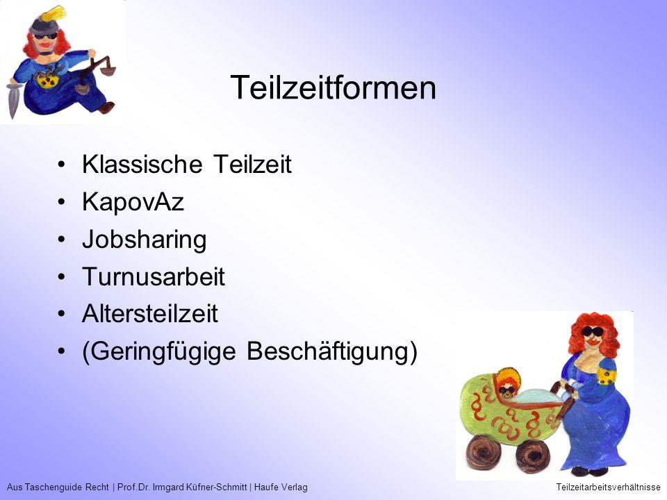Aus Taschenguide Recht   Prof.Dr. Irmgard Küfner-Schmitt   Haufe VerlagTeilzeitarbeitsverhältnisse Teilzeitformen Klassische Teilzeit KapovAz Jobshari