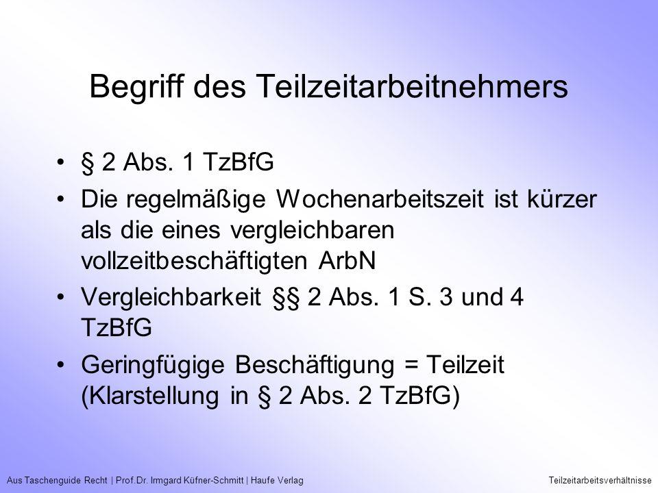 Aus Taschenguide Recht   Prof.Dr. Irmgard Küfner-Schmitt   Haufe VerlagTeilzeitarbeitsverhältnisse Begriff des Teilzeitarbeitnehmers § 2 Abs. 1 TzBfG