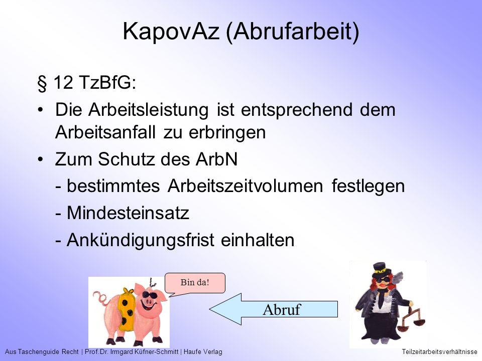 Aus Taschenguide Recht   Prof.Dr. Irmgard Küfner-Schmitt   Haufe VerlagTeilzeitarbeitsverhältnisse KapovAz (Abrufarbeit) § 12 TzBfG: Die Arbeitsleistu