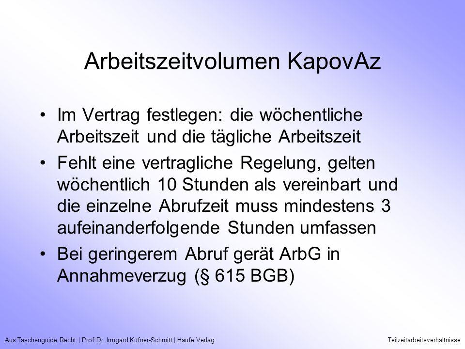 Aus Taschenguide Recht   Prof.Dr. Irmgard Küfner-Schmitt   Haufe VerlagTeilzeitarbeitsverhältnisse Arbeitszeitvolumen KapovAz Im Vertrag festlegen: di