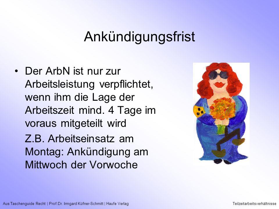 Aus Taschenguide Recht   Prof.Dr. Irmgard Küfner-Schmitt   Haufe VerlagTeilzeitarbeitsverhältnisse Ankündigungsfrist Der ArbN ist nur zur Arbeitsleist