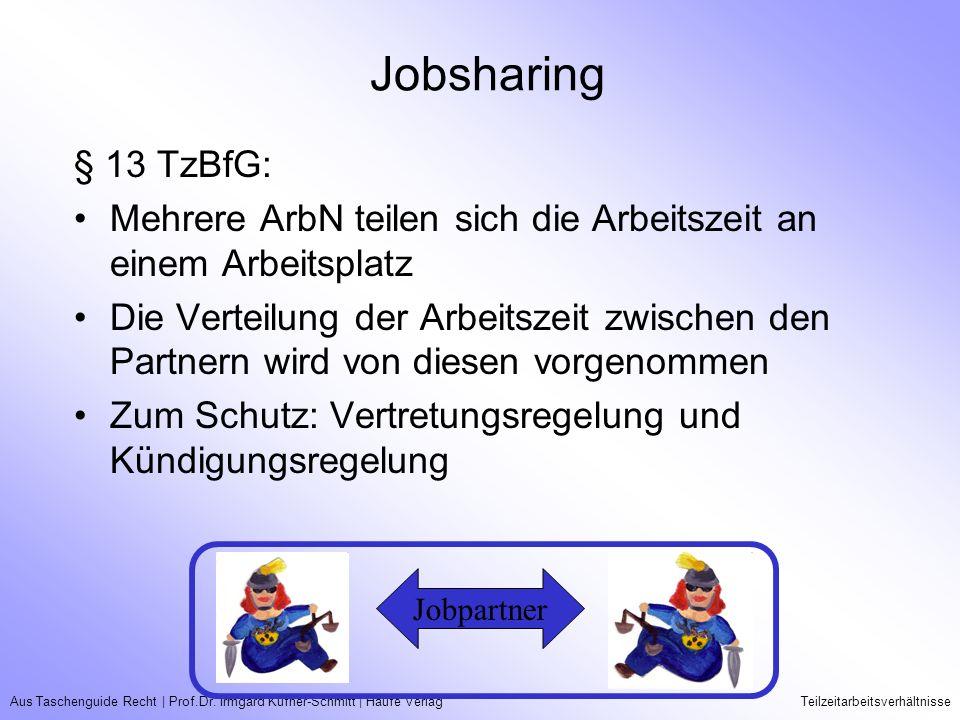 Aus Taschenguide Recht   Prof.Dr. Irmgard Küfner-Schmitt   Haufe VerlagTeilzeitarbeitsverhältnisse Jobsharing § 13 TzBfG: Mehrere ArbN teilen sich die