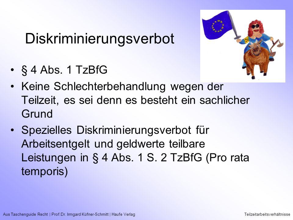 Aus Taschenguide Recht   Prof.Dr. Irmgard Küfner-Schmitt   Haufe VerlagTeilzeitarbeitsverhältnisse Diskriminierungsverbot § 4 Abs. 1 TzBfG Keine Schle