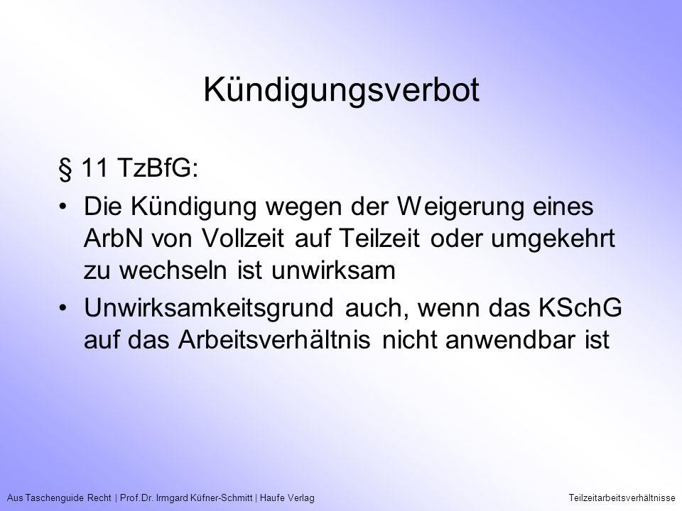 Aus Taschenguide Recht   Prof.Dr. Irmgard Küfner-Schmitt   Haufe VerlagTeilzeitarbeitsverhältnisse Kündigungsverbot § 11 TzBfG: Die Kündigung wegen de
