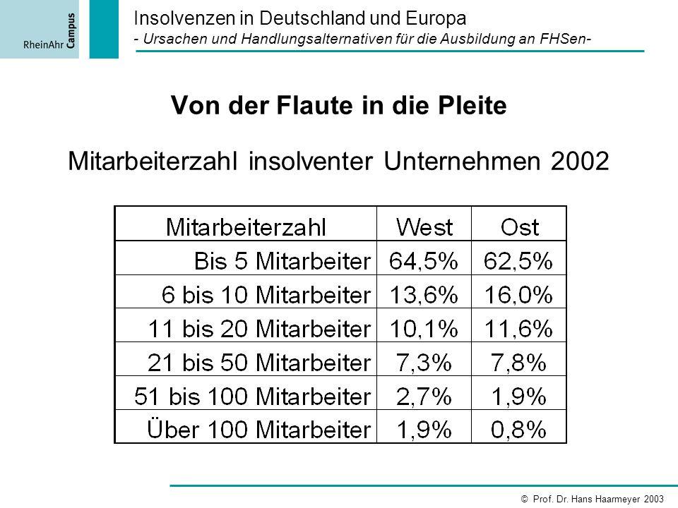 Von der Flaute in die Pleite Mitarbeiterzahl insolventer Unternehmen 2002 Insolvenzen in Deutschland und Europa - Ursachen und Handlungsalternativen f