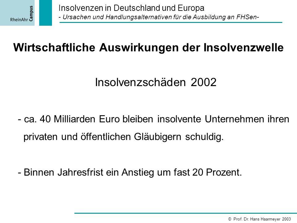 Wirtschaftliche Auswirkungen der Insolvenzwelle Insolvenzschäden 2002 - ca. 40 Milliarden Euro bleiben insolvente Unternehmen ihren privaten und öffen