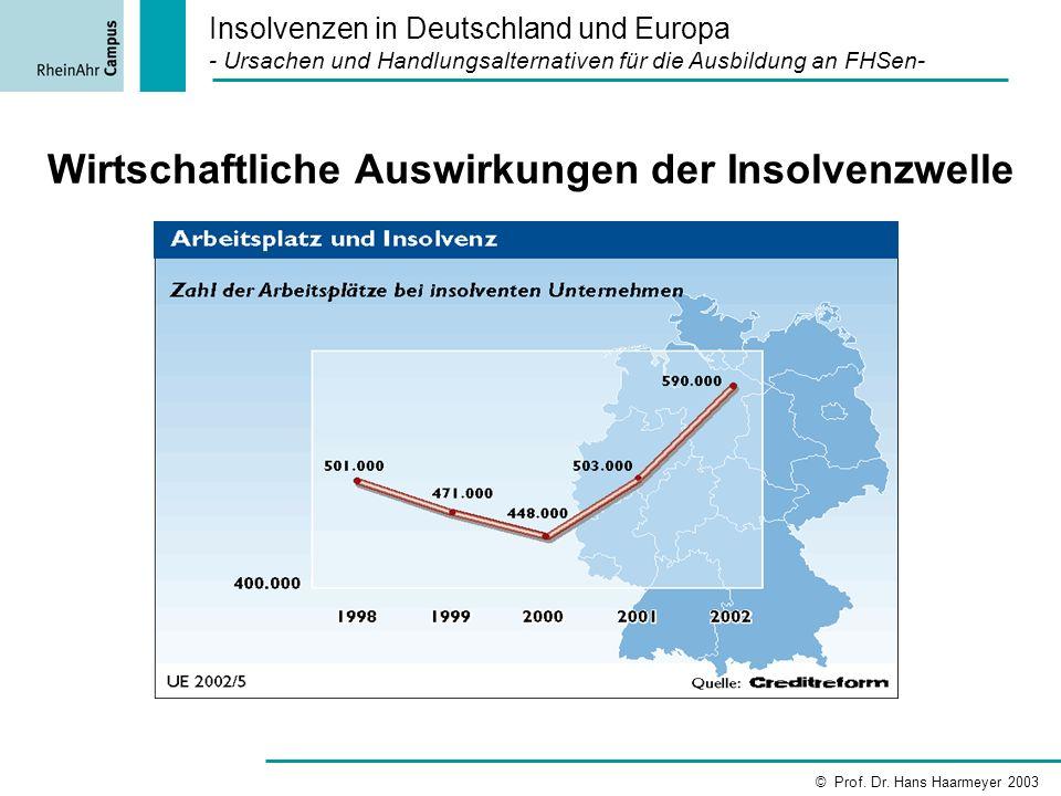 Wirtschaftliche Auswirkungen der Insolvenzwelle Insolvenzen in Deutschland und Europa - Ursachen und Handlungsalternativen für die Ausbildung an FHSen