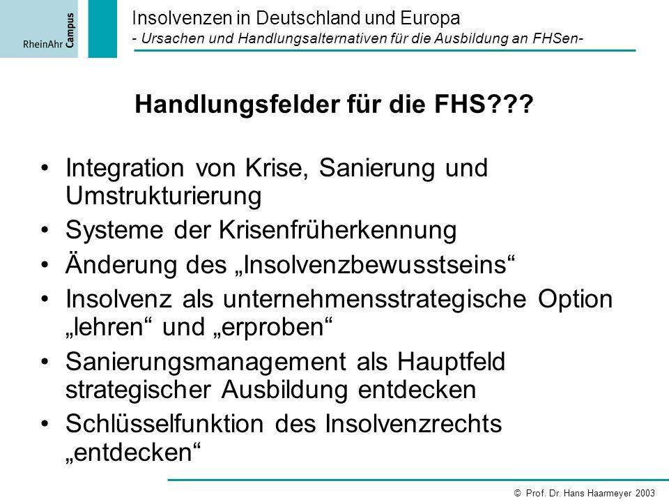 Handlungsfelder für die FHS??? Integration von Krise, Sanierung und Umstrukturierung Systeme der Krisenfrüherkennung Änderung des Insolvenzbewusstsein