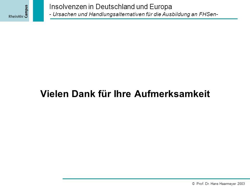 Insolvenzen in Deutschland und Europa - Ursachen und Handlungsalternativen für die Ausbildung an FHSen- © Prof. Dr. Hans Haarmeyer 2003 Vielen Dank fü